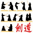 Stock Vector: Kendo silhouettes set