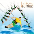 Kite surfing silhouettes set — ベクター素材ストック