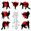 Kyokushin karate silhouettes set — Stock Vector #6820381