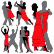 Vector de stock : Latino Dancers Silhouettes Set