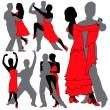 Latino Dancers Silhouettes Set — Stock Vector