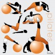 Pilates Silhouettes Set — Stock Vector