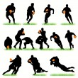 Stock Vector: 14 Rugby Players Silhouettes Set