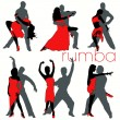 12 Rumba Dancers Silhouettes Set — Stock Vector
