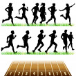 Runners Silhouettes Set — Stock Vector