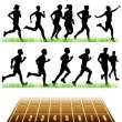 Runners Silhouettes Set - Stock Vector