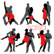 12 Salsa Dancers Silhouettes Set — Stock Vector