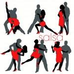 12 Salsa Dancers Silhouettes Set — Stock Vector