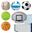 Stock Vector: Sport equipment set