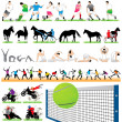 44 Sport Silhouettes Set — Vector de stock #6828732