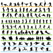 106 Sport Silhouettes Set — Vector de stock