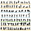 90 Sport Silhouettes Set — Stock Vector