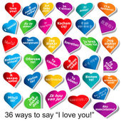 "36 Ways to Say ""I love you"" — Stock Vector"