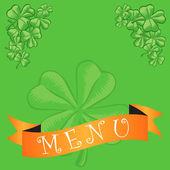 Diseño de cubierta del menú pub irlandés — Vector de stock