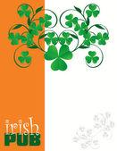 Progetto di copertina menù pub irlandese — Vettoriale Stock