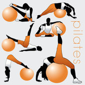 Pilates Silhouettes Set — Vettoriale Stock