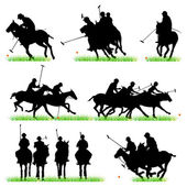 Polo Players Silhouettes Set — Stock Vector