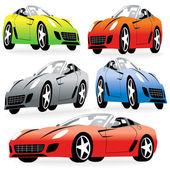 Cartoon Style Racing Cars Set — Stock Vector