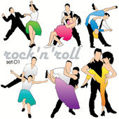 Rock'n'roll dancers silhouettes set — Stock Vector
