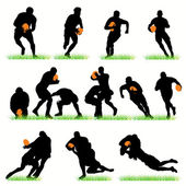 14 Rugby Players Silhouettes Set — Stock Vector