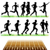 Runners Silhouettes Set — Vector de stock