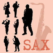 Saxophone Players Silhouettes Set — Stock Vector