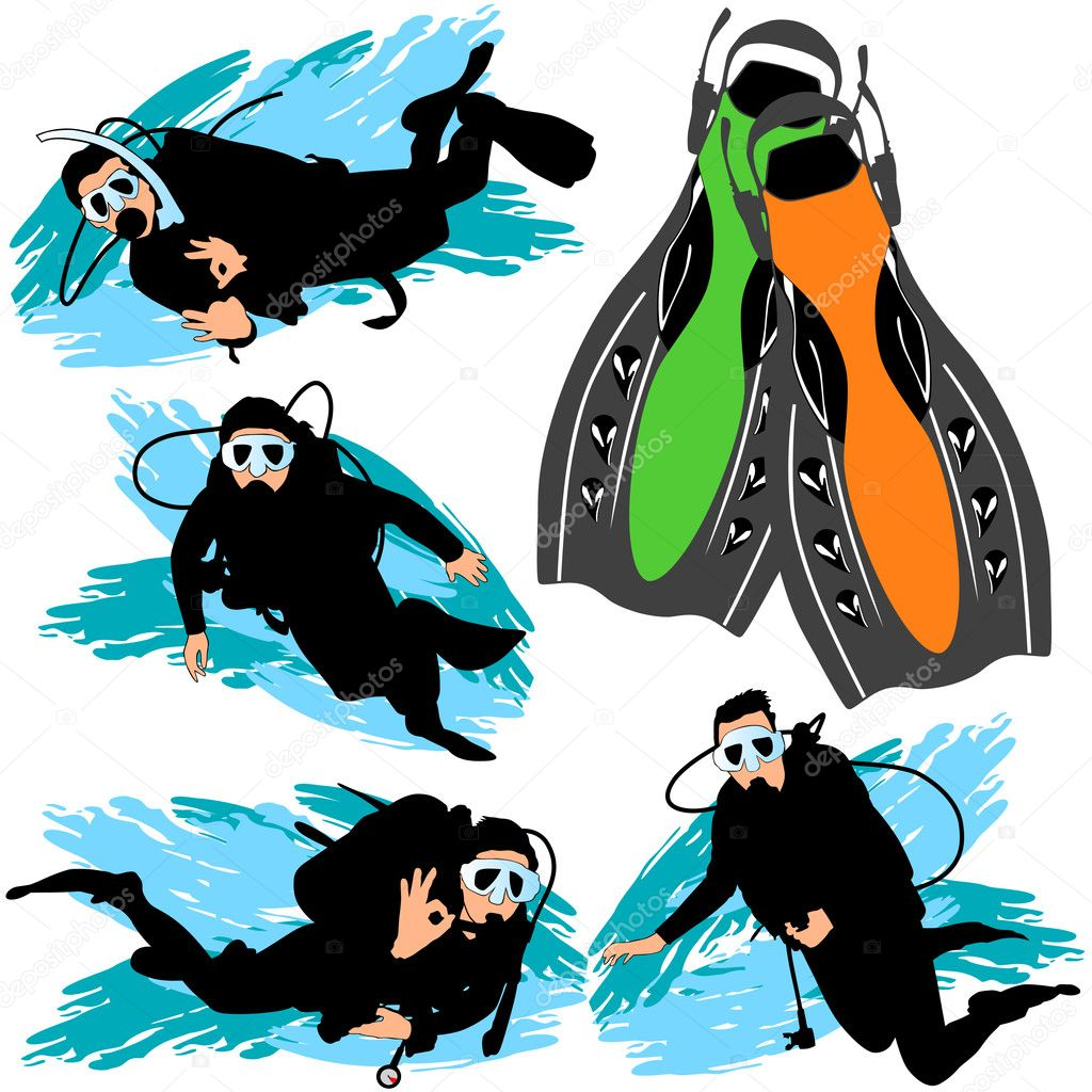 Scuba Diving Silhouettes Set — Stock Vector #6828724