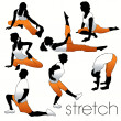 Stretch aerobics silhouettes set — Stock Vector