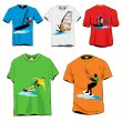 Stock Vector: Surfers T-shirts Set