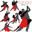 Tango Dancers Silhouettes Set — Stock Vector