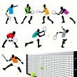 8 Tennis Players Silhouettes Set — Stock Vector #6878010
