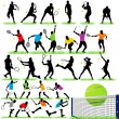 27 Tennis Players Silhouettes Set — Stock Vector #6878015