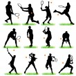 12 Tennis Players Silhouettes Set — Stock Vector