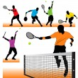 6 Tennis Players Silhouettes Set — Stock Vector