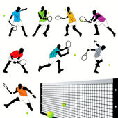 8 Tennis Players Silhouettes Set — Stock Vector