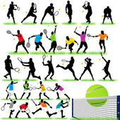 27 Tennis Players Silhouettes Set — Stockvektor