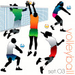 5 Volleyball Players Silhouettes Set — Stock Vector #6901296
