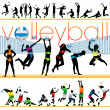 30 Volleyball Players Silhouettes Set - Stock Vector