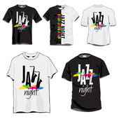 Jazz T-shirts Set — Stock Vector