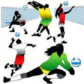Impostare 5 sagome di giocatori di pallavolo — Vettoriale Stock