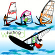 Windsurf Silhouettes Set — Stock Vector