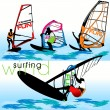 Windsurf Silhouettes Set — Stockvectorbeeld
