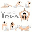 Yoga Silhouettes Set — Stock Vector