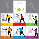 Tennis Aces 2012 Calendar Template — Stock Vector #7462761