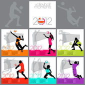 Volleyball Moments 2012 Calendar Template — Stock Vector