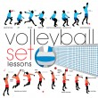 Stock Vector: Volleyball lessons set