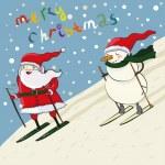 Cartoon santa and snowmen ski — Stock Vector #7460228