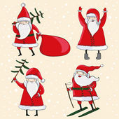 Four happy cartoon Santas — Stock Vector