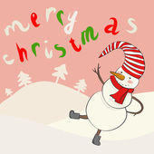 Funny cartoon snowman in vector — Stock Vector