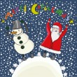 Cartoon christmas Santa and snowman — Stock Vector